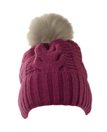 pompom: Womens knitted hat with pompom isolated on white background . Stock Photo