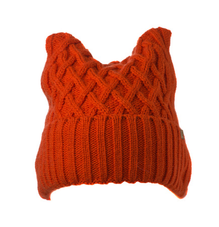 Womens knitted hat isolated on white background.womens hat orange Stock Photo