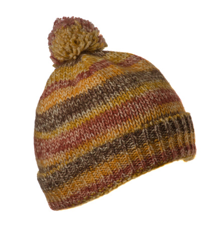 knitted hat isolated on white background .hat with pompon colorful . Stock Photo