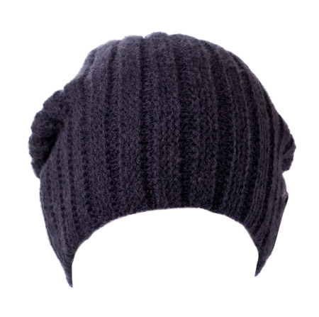 knitted hat isolated on white background .hat blue .