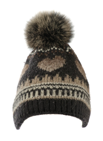 knitted hat isolated on white background .hat with pompon .
