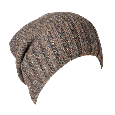 knitted hat isolated on white background .high hat .