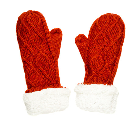 mittens: Mittens isolated on white background. Knitted mittens. Mittens top view.red mittens .