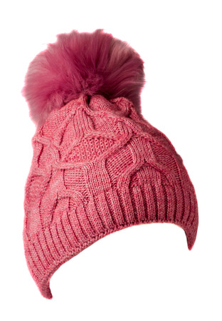 Womens knitted hat isolated on white background.hat with pompon . pink hat .