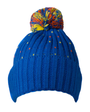 knitted hat isolated on white background .hat with pompon . blue hat . Stock Photo