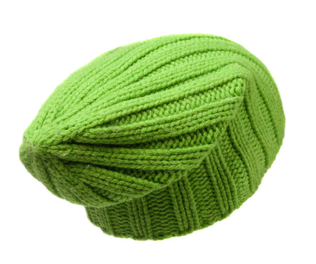 hat isolated on white background .knitted hat .light green hat .