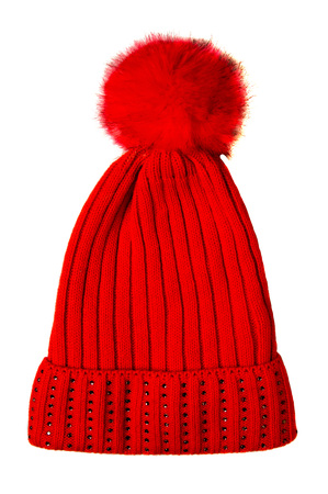 Womens knitted hat isolated on white background.hat with pompon . red hat .