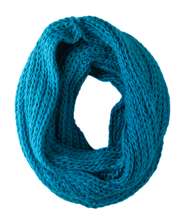 Scarf isolated on white background.Scarf  top view .aqua scarf.