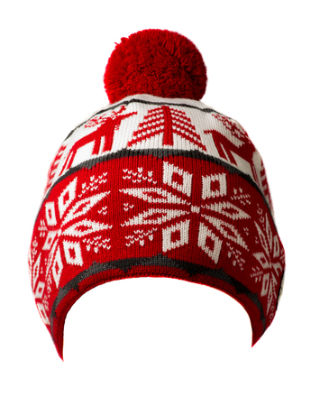 knitted hat isolated on white background .hat with pompon .  red and white hat . Stock Photo