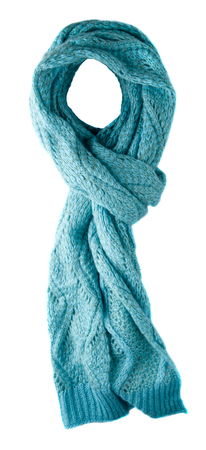 Scarf isolated on white background.Scarf  top view .blue scarf .