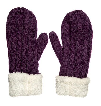 mittens: Mittens isolated on white background. Knitted mittens. Mittens top view. purple mittens .
