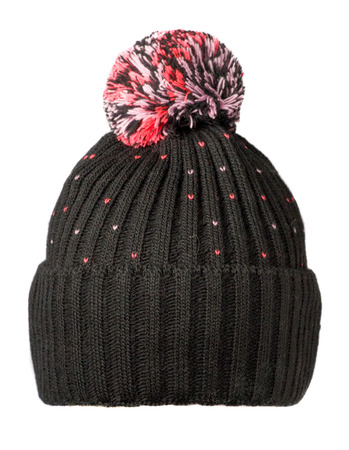 knitted hat isolated on white background .hat with pompon .  black hat with pink accents;