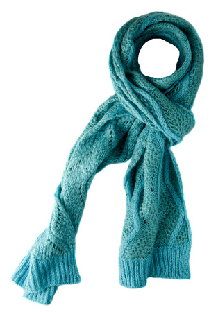 Scarf isolated on white background.Scarf  top view .turquoise scarf . Stock Photo