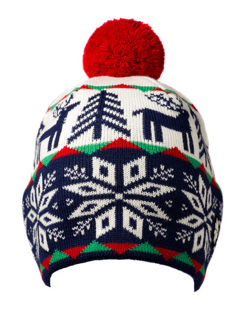 knitted hat isolated on white background .hat with pompon .  blue red white  hat .