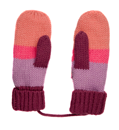 Mittens isolated on white background. Knitted mittens. Mittens top view.pink purple maroon gloves .