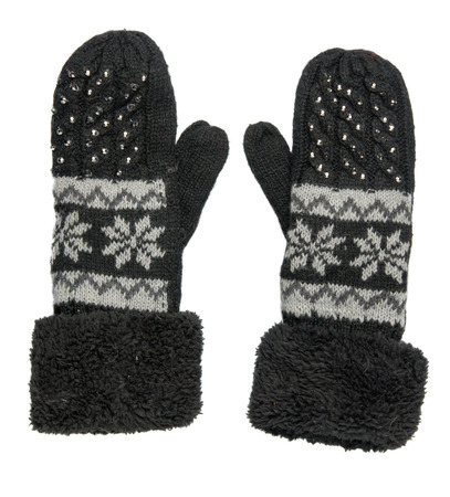 mittens: Mittens isolated on white background. Knitted mittens. Mittens top view.black gloves with pattern . Stock Photo