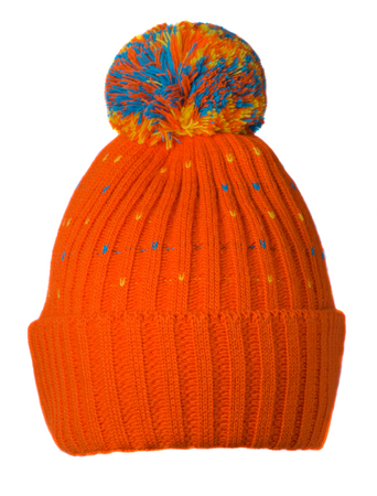 knitted hat isolated on white background .hat with pompon .   ginger  hat