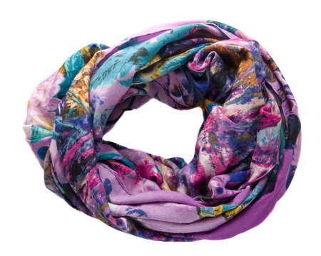 Scarf isolated on white background.Scarf  top view .variegated scarf
