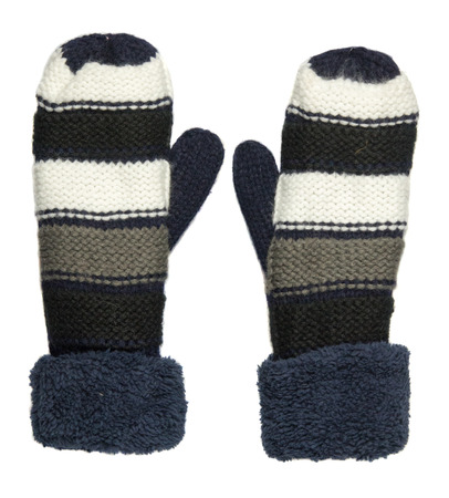 mittens: Mittens isolated on white background. Knitted mittens. Mittens top view.blue white gray mittens