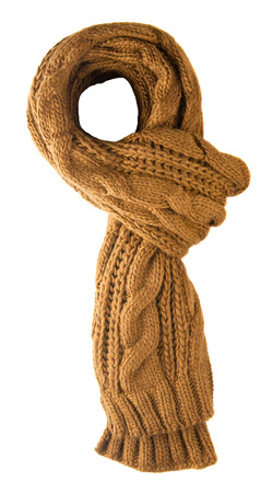 warm cloth: Scarf isolated on white background.Scarf  top view .brown scarf Stock Photo
