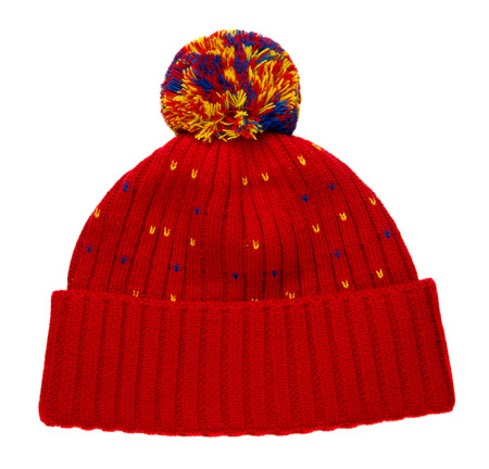 knitted hat isolated on white background .hat with pompon .     hat red Stock Photo