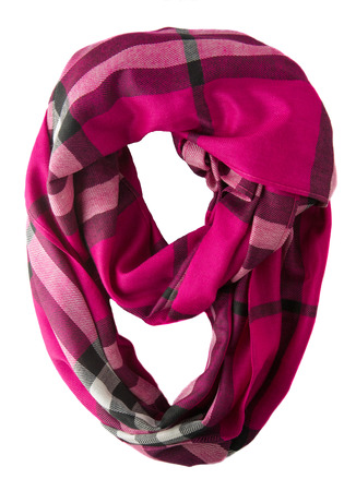 Scarf isolated on white background.Scarf  top view .red pink scarf in a cage
