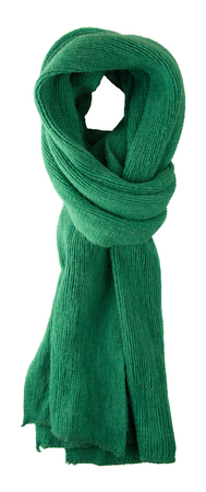Scarf isolated on white background.Scarf  top view .green scarf Stock Photo