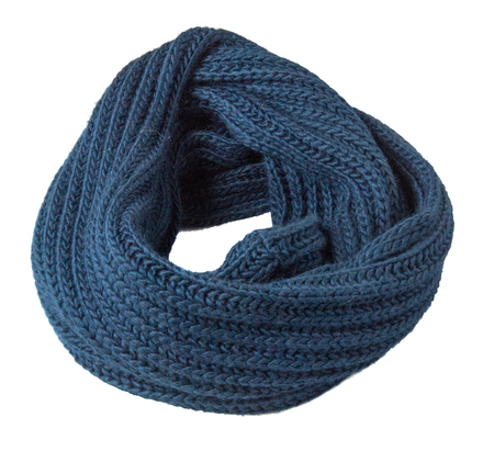 Scarf isolated on white background.Scarf  top view .blue scarf . Stock Photo
