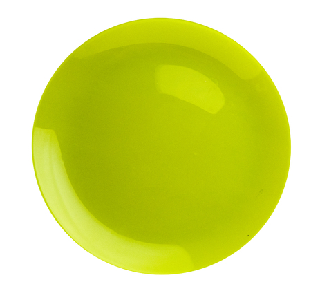 Plate isolated on a white background. plate top view .green plate . Stock Photo