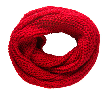 Scarf isolated on white background.Scarf  top view .red scarf .