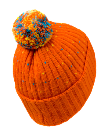 hat isolated on white background .knitted hat .orange hat .