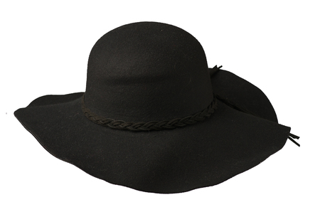 Womens hat felt isolated on white background .fashion hat felt. red hat . Stock Photo