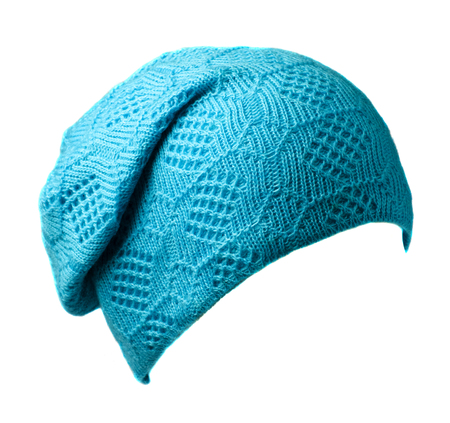 Womens hat . knitted hat isolated on white background.tirquoise hat . Stock Photo