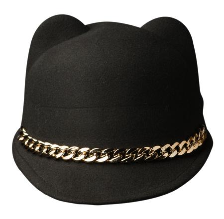 Womens hat felt isolated on white background .fashion hat felt. black hat .