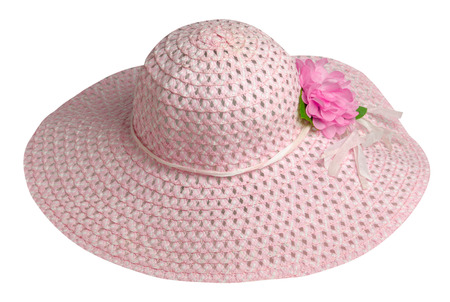 woman  hat isolated on white background .Womens beach hat . pink hat .