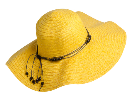woman  hat isolated on white background .Womens beach hat . yellow  hat .