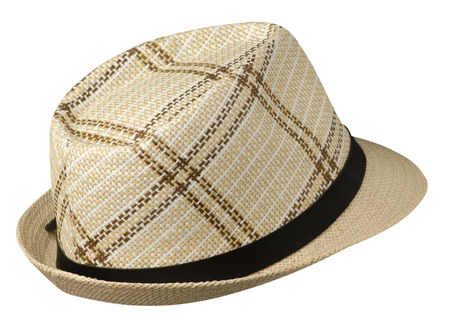 hat with a brim .hat isolated on white background.beige hat . Stock Photo