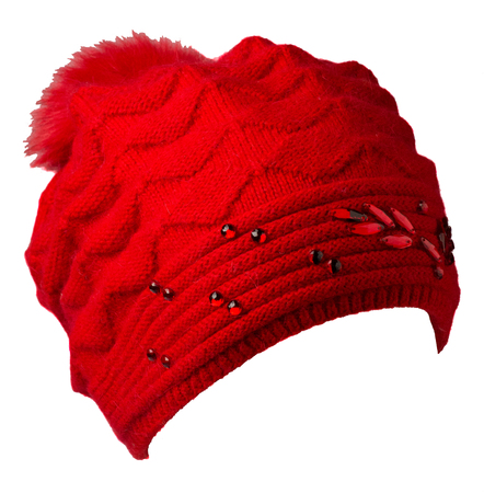 Womens hat . knitted hat isolated on white background.hat with pompon . red hat . Stock Photo