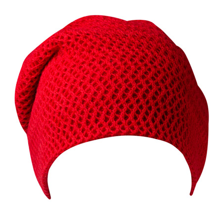 Womens hat. Knitted hat isolated on white background. Red hat