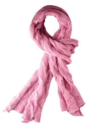 Scarf isolated on white background.Scarf  top view .pink scarf