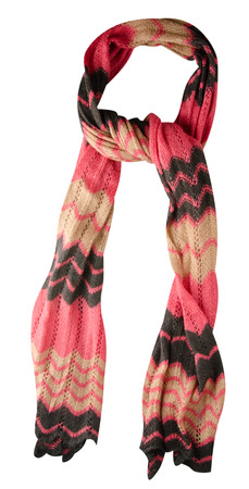 Scarf isolated on white background.Scarf  top view .pink yellow black scarf