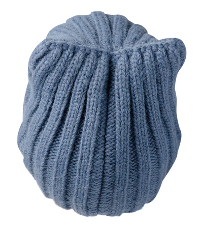 winter fashion: Womens hat . knitted hat isolated on white background.blue hat