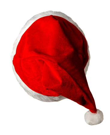 santa claus cap isolated on white background. santa claus red hat. hat with pompom Stock Photo