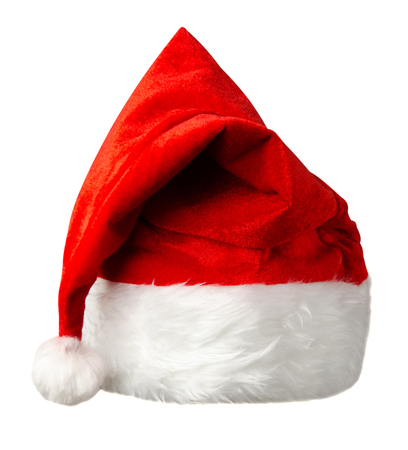 santa claus hat isolated on white background. santa claus red hat. hat with pompom