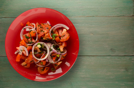 vegetarian food . tomatoes, onion, fennel on a plate on a wooden background. healthy food Stock Photo