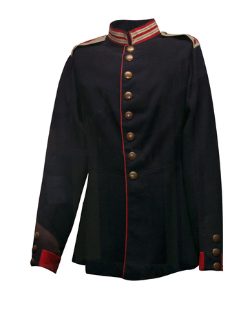 Ancient military coat of a Russian 18th century officers officer isolated