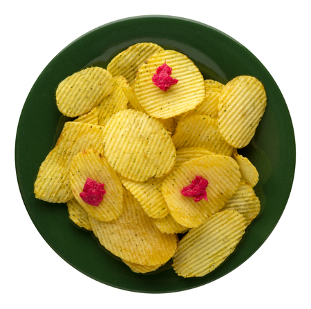 potato chips on a plate. potato chips isolated on white background. junk food .