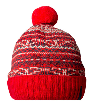 knitted hat isolated on white background.hat with pompom. Standard-Bild