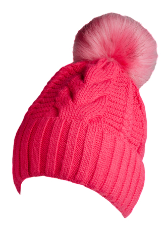 knitted hat isolated on white background.hat with pompom. Stock Photo