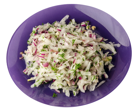 salad daikon, onions and dil isolated on white background.